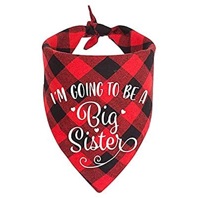 MaySunset Going to Be a Big Sister Dog Bandanas, Pet Baby Bulletin Plaid Dog Scarf, Gender Revealing Photo Props, Pet Dog Photo Props Accessories