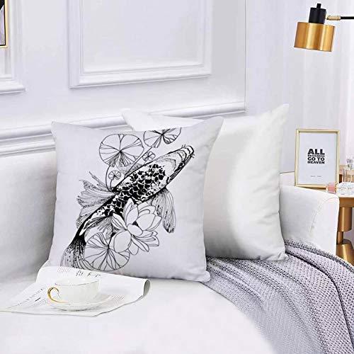 Lilatomer Funda de algodón 45 x 45 cm Koi Fish Dibujo Japonés Japón Carpa Felicidad Riqueza Valor Suerte Amor Animales, Sofá Throw Cojín Almohada Caso de la Cubierta para Sala de Estar 45x45cm