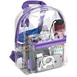Water Resistant Clear Mini Backpacks for School, Beach - Stadium Approved Bag with Adjustable Straps (Purple)
