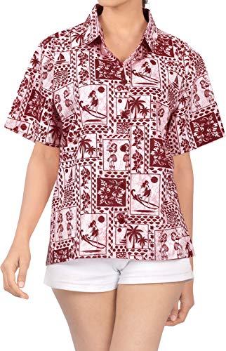 LA LEELA Cuello de la Camisa Blusas Novio Hawaiano Bebe Casual Manga Corta XXL Blood Rojo