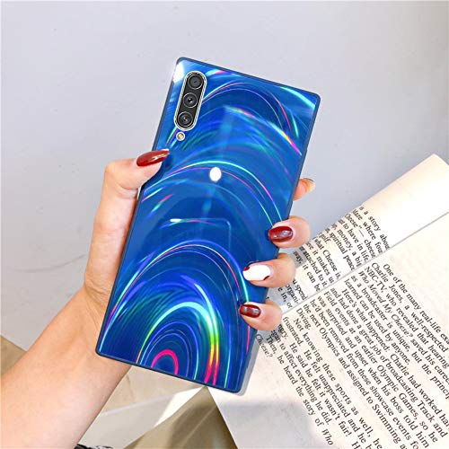Herbests Kompatibel mit Samsung Galaxy A50S Hülle Glitzer Glänzend Kristall Aurora Bunte Weich Silikon Handyhülle Ultra dünn Schutzhülle TPU Bumper Handytasche Crystal Case Cover,Blau