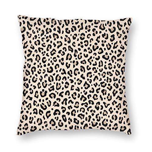 Schwarz und Weiß Leopardenmuster in Ecru Tiny Scale Collection Leopard Punkte Samt Weiche Dekorative Quadratische Kissenhülle Kissenbezug für Wohnzimmer Sofa Schlafzimmer mit unsichtbarem Reißverschluss 50,8 x 50,8 cm