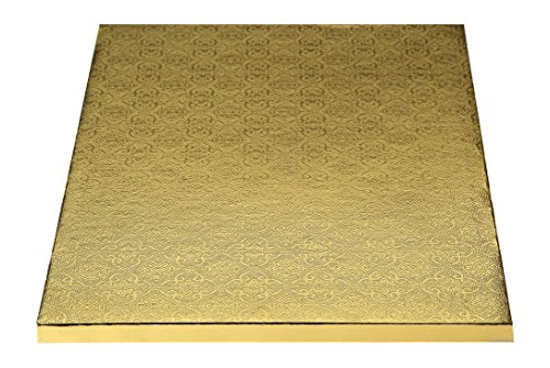 "W PACKAGING WPWDW50G 1/2 Sheet (18.37x13) Gold Double Wall Wrap Around/Fold Over Cake Pad, 1/4"" Thick, W/Hand Wrapped Coated Embossed Foil Paper (Pack of 50)"