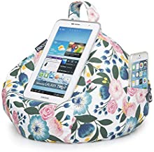 iBeani iPad Pillow & Tablet Cushion Stand - Securely Holds Any Size Tablet, eReader or Book Upto 12.9 inches, Hands Free Comfort at Any Angle on Any Surface - Floral