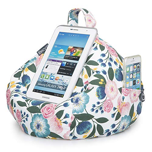 iBeani iPad & Tablet Stand / Bean Bag Cushion Holder for All Devices / Any Angle on Any Surface - Floral Plum