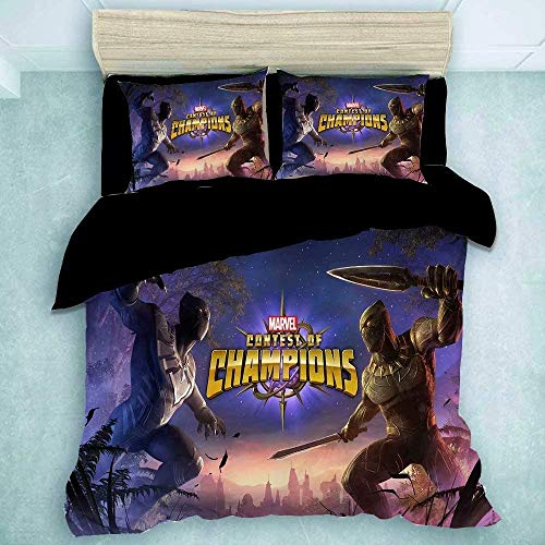 POMJK Black Panther Bed Linen Set Duvet Cover Pillow Case Children's Bed Linen Easy Care Bed Linen (Black Panther 1, 200 x 200 cm + 80 x 80 cm x 2)