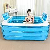 ESPERANZAXU Blaue Farbe Aufblasbare Badewanne Kunststoff Tragbare Faltbare Badewanne Einweichen Badewanne Startseite SPA Bad Equip Mit Elektrischer Luftpumpe