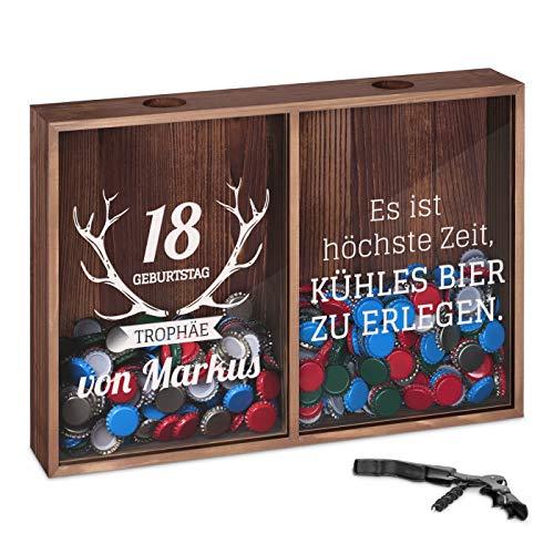 Murrano Kronkorkensammler Korkensammler mit Gravur + Flaschenöffner - Deckelsammler zum Aufhängen personalisiert - Geschenk Geburtstag für Frauen und Männer - 32x46x8cm - aus Holz - Trophäe