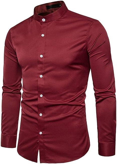 Camisa de Vestir para Hombre Camisa de Manga Larga Casual ...