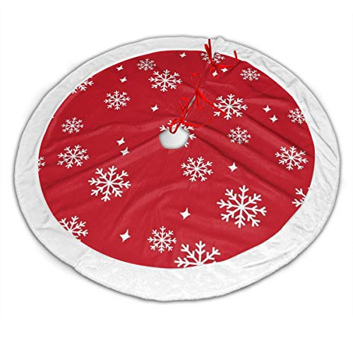 Snowflake Red Xmas Christmas Minimal Pattern Xmas Christmas Tree Skirt Red Velvet Holiday Decoration Skirts 30 Inch Small