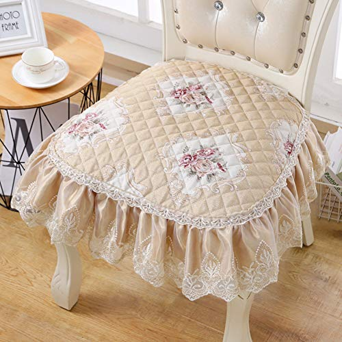 YUMUO Ruffle Lace Chair Cushion,Polyester Kitchen Seat Pads, Not-slip Seat Protector For Dining Chair Decor J 53x48cm(21x19inch)