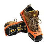 Cosyzone Traction Cleats Ice Grips Spikes for Shoe/Boots Safe for Walking, Jogging, Climbing Fishing Hiking-Orange (1 Pair)
