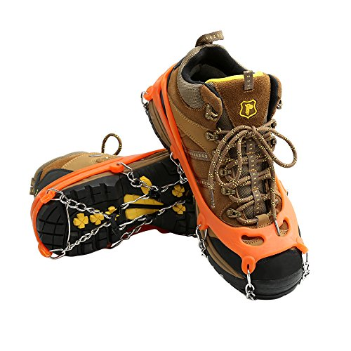 Cosyzone Traction Cleats Ice Grips Spikes for Shoe/Boots Safe for Walking Jogging Climbing Fishing HikingOrange 1 Pair