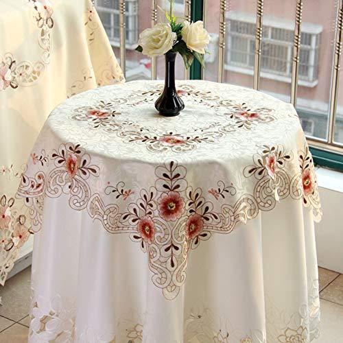 GerFogoo Mantel redondo bordado mantel de algodón lavable para cocina, comedor, mesa de mesa, decoración buffet