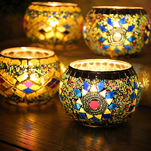 "YJY LED Candle Lamps Holder Night Light,2-Pack European Style Glass Tea Light Holder,Handmade Artwork for Home Decor Christmas Wedding Party Gift 3.2""(Sunflower_Wave)"