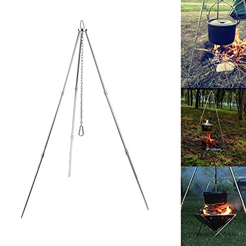 Civsde Tripod with Chain & Hook, Camping Dutch Oven Tripod for Fire Pit, BBQ Rack for Hanging a Pot with Chain and Hook