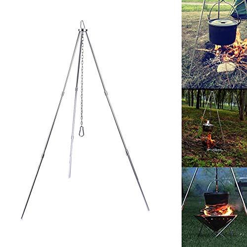 Civsde Dreibein mit Kette & Haken, Camping Dutch Oven Stativ für Fire Pit, BBQ Gestell für Das Aufhängen Eines Topfs mit Kette und Haken
