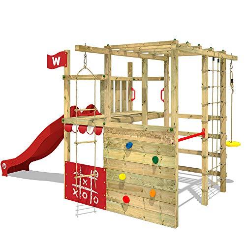 WICKEY Klettergerüst Spielturm mit Kletternetz, Kletterwand Kletterleiter 'Smart Champ' - rote Rutsche, rote Plane