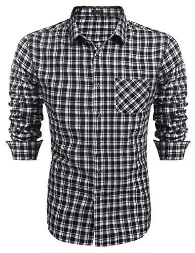 COOFANDY Herren Kariertes Hemd Langarm Regular Fit Kent Kragen aus Baumwolle Klassische Leicht Bügelfrei Freizeithemd für Männer Weiß M