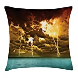 ZHIZIQIU Nature Throw Pillow Cushion Cover, Flash Storm Over
