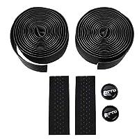 ハンドルバーテープ、ウォッシャブルハンドルバーテープ、汗吸収2PCSマウンテンバイク用耐摩耗性ロードバイク(black)