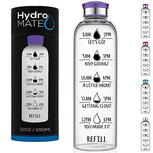 HydroMATE 32 Oz Motivational Glass Water Bottle with Time Marker | Leak Proof | BPA-Free | Track Intake & Drink More Water Daily | Safe For Travel To-Go & Hot Liquids | 1 Liter (Purple)