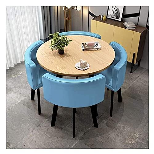 Cocina Mesa de ocio Mesa de comedor Conjunto para cocina o decoración del hotel, mesas de ocio y sillas Mesa de comedor y silla Combinación Nordic Modern Modern 5Piece Set de 80 cm de madera maciza Me