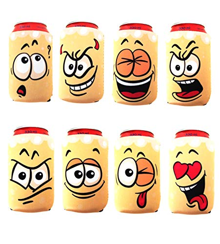 Set of 8 Beer Can Sleeves - Neoprene Drink Cooler for Cans - Koozies for gift and parties - Collapsible and Insulator Beer Holder - Funny Coozies for cans