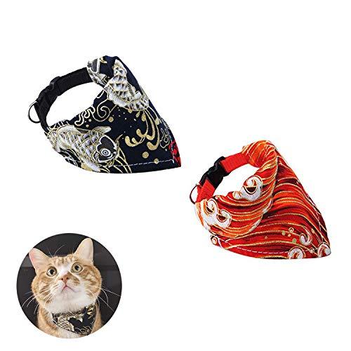 SEDEX hond Bandana Puppy halsdoek kat Bandana rood en zwart kraag sjaal wasbaar omkeerbare verstelbare driehoek hond sjaal voor huisdieren en katten, S (20-34cm/7.9-13.4in), Zwart+Rood
