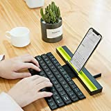 GEZICHTA Foldable Bluetooth Keyboard, Roll Up Wireless Portable Keyboard Compatible with iOS, Android and Windows System, 64 Keys Mini Bluetooth Keyboard for All iPad Tablet Smart Phone Laptop