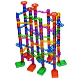 Marble Run kids maze game: 172pcs – including 60 glass marbles, DIY Puzzle building blocks. Marble run toy marble maze race-track game set, toy construction. Kids 4 5 6 7+ years old boy girl