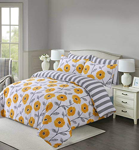 Divine Textiles Printed Duvet Cover Set King Size (230x220cm) 3 pcs reversible Pattern Ultra Soft Easy Care With 2 Pillow Cases - Mustard Flower