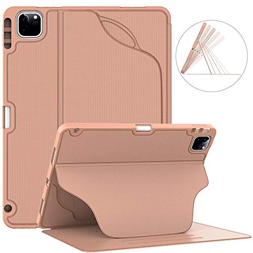 Soke Luxury Series Case for New iPad Pro 11 Inch 2020 & 2018 - [Built-in Pencil Holder + 6 Magnetic Stand Angles + 360 Full Protection + Premium PU Leather] - Sleep/Wake Cover,Rose Gold