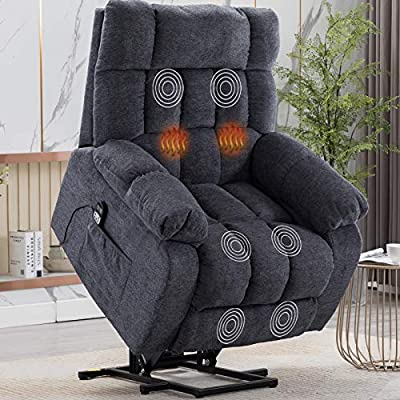 CANMOV Power Lift Recliner Chair with Heat & Massage for Elderly, Heavy Duty Recliner Chair with Contemporary Overstuffed Arms and Back