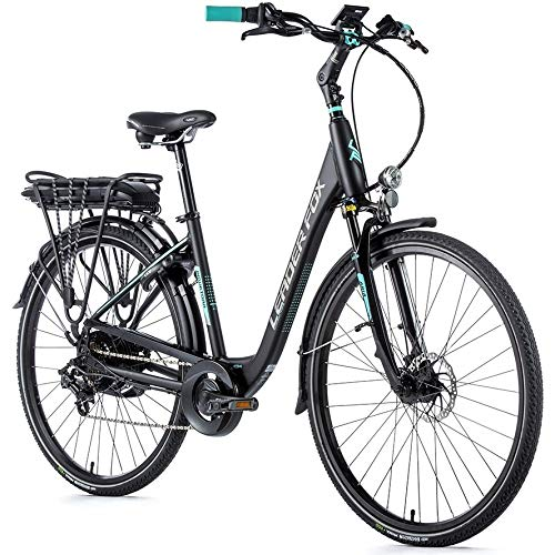28 Zoll Alu Leader Fox E Bike Elektro Fahrrad City Pedelec 576Wh Scheibenbremsen schwarz matt