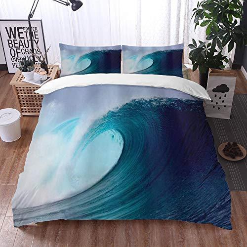 Qinniii Bedsure Funda Nórdica,Ocean Tropical Surfing Wave en un mar ventoso Indonesia Sumatra Picture Print,Fundas Edredón 200 x 200 cmcon 1 Funda de Almohada 40x75cm