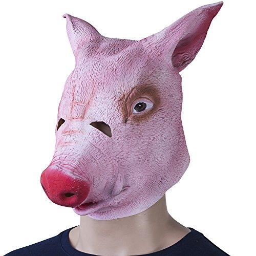 Grinscard Tiermaske im Schweinekopf Design - Rosa Latex Einheitsgröße - Schweinemaske für Karneval und Halloween