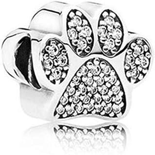 SUNWIDE Animal Dog Pet Paw Prints Charm Fit Pandora Charms Bracelets