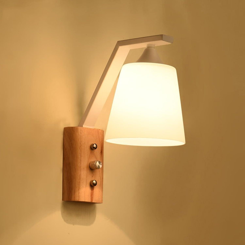 MoMo Nordic Modern Einfache Wohnzimmer Holz Wandleuchte, Single Headed LED Wandleuchte,Wei