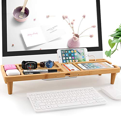 BambuMate Desk Storage Organizer Bamboo Desktop Shelf Display Rack, Office Supplies Desk Organizer, Keyboard Shelf Organizer with Grooves for Phones,Tablet and Office Supplies
