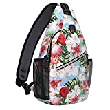 MOSISO Sling Backpack,Travel Hiking Daypack Pattern Rope Crossbody Shoulder Bag, Spring Sakura