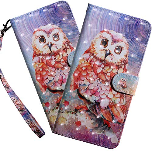 HMTECH Huawei Y6 2019 Case Huawei Y6 2019 Cover 3D Cute Red Owl PU Leather Flip Notebook Wallet Case Magnetic Stand Card Slot Folio Bumper Case for Huawei Y6 2019,BX Red Owl