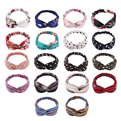 Leeofty Bandas para el cabello de moda, diademas estampadas, turbante cruzado Vintage, bandanas para el cabello, accesorios para el cabello de verano para mujeres y niñas