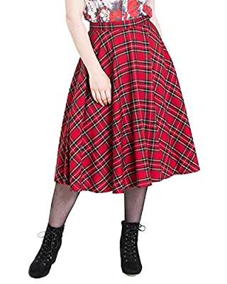 Hell Bunny Irvine Red Tartan 50s Vintage Retro Flare Swing Skirt