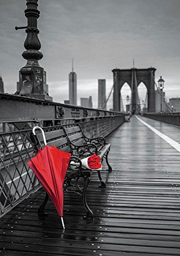 Puzzle 1000 Paraguas Rojo, Puente de Brooklyn Coloured Black & White (17691)