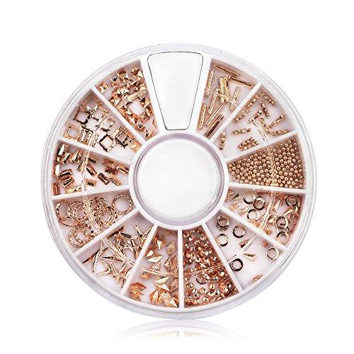 Carrousel Strass Rivet Nail Art Ongle Forme Plat Or Rose Deco Decoration Métal Punk Boite à Bijoux pour Manucure