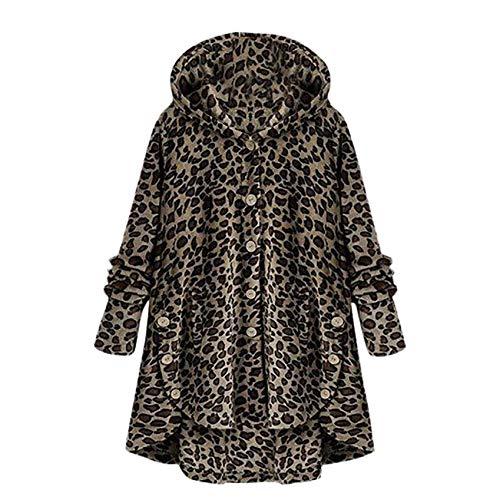 iHENGH Damen Herbst Winter Bequem Mantel Lässig Mode Jacke Frauen Knopf Leopard Mantel Flauschige Schwanz Tops mit Kapuze Lose(Braun, L)
