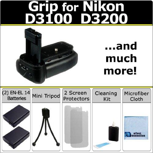 Battery Grip for Nikon D3100 D3200 DSLR Camera + Car/Home Charger + Deluxe Starter Kit by eCost (BG-N9 BGN9)