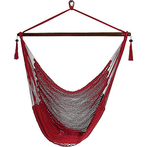 Sunnydaze Hanging Rope Hammock Chair Swing, Extra Large Caribbean, Red - for Outdoor Patio, Yard and Porch