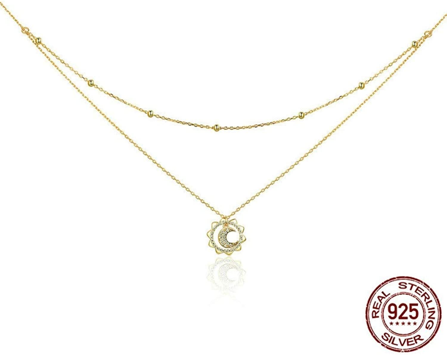 QMM necklace Pendant 100% 925 Sterling Silver & gold color Moon in Sun Pendant Necklace for Women Birthday Jewelry Fashion